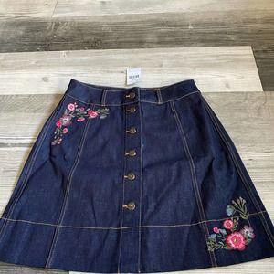Kate Spade Embroidered Floral Denim Skirt